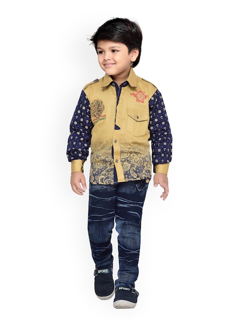 Kidling Boys Brown & Blue Printed Shirt with Jeans