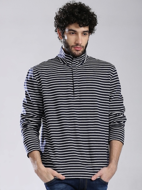 Nautica Navy & White Striped Sweatshirt