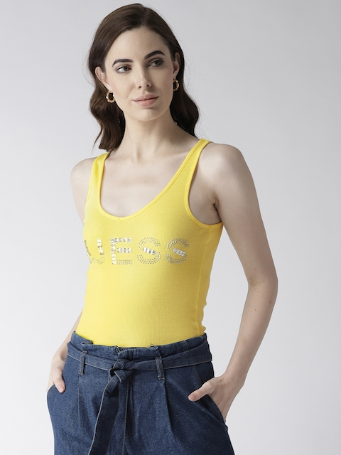 GUESS Women Yellow Self-striped Fitted Top