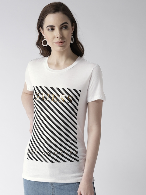 GUESS Women White and Black Printed T-shirt
