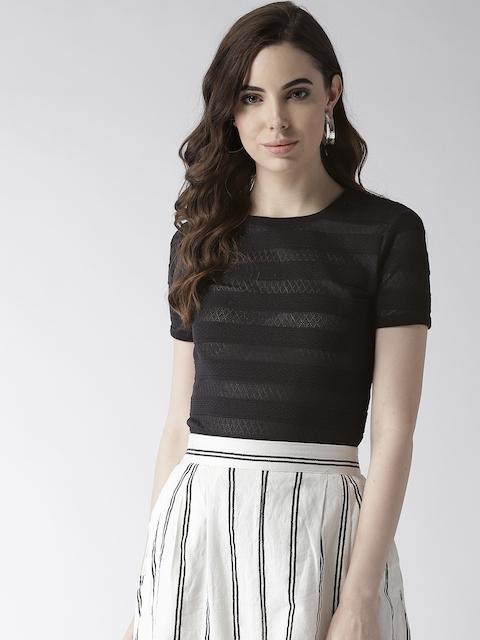 GUESS Women Black Self-Striped Semi-Sheer Top
