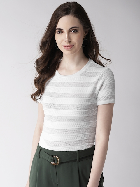 GUESS Women White Self-Striped Fitted Top