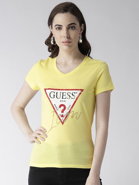 GUESS Women Yellow Printed T-shirt