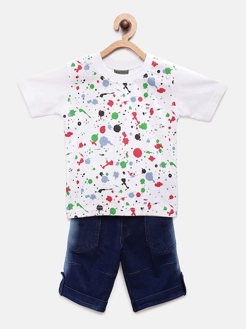 RIKIDOOS Boys White & Blue Printed T-shirt with Shorts