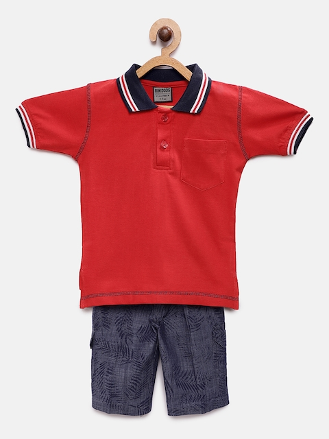 RIKIDOOS Boys Red & Blue Solid T-shirt with Shorts