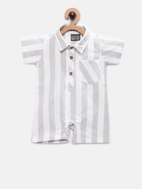 RIKIDOOS Unisex White & Grey Striped Rompers