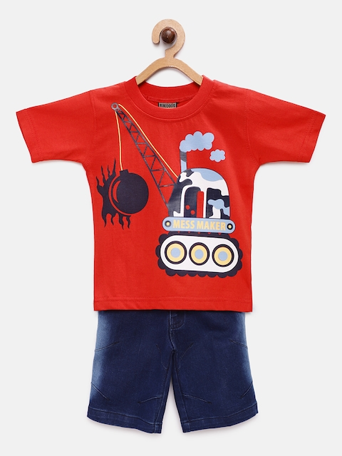 RIKIDOOS Boys Red & Blue Printed T-shirt with Shorts