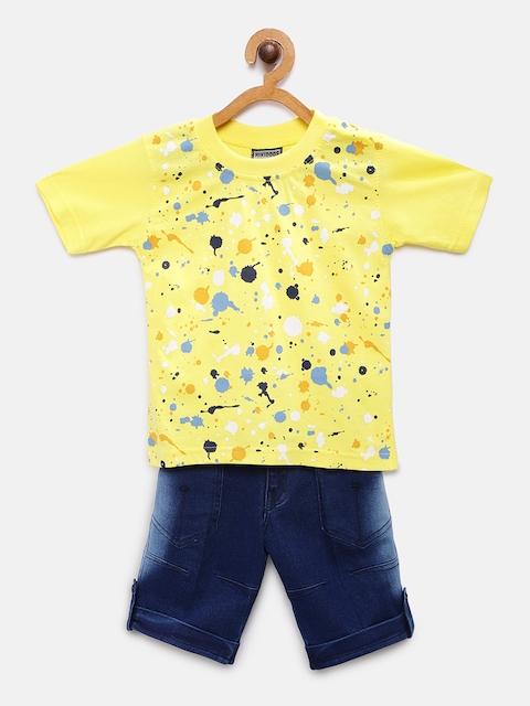 RIKIDOOS Boys Yellow & Blue Printed T-shirt with Shorts