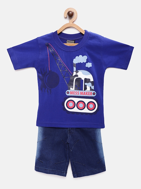 RIKIDOOS Boys Blue Printed T-shirt with Shorts