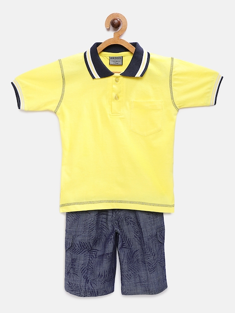 RIKIDOOS Boys Yellow & Blue Solid T-shirt with Shorts
