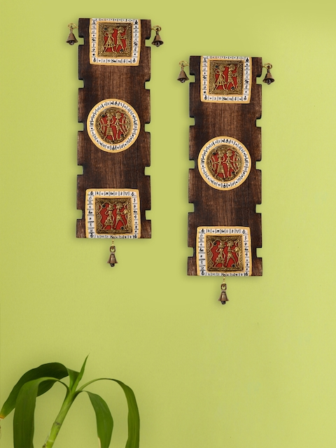 ExclusiveLane Set of 2 Brown Dhokra & Warli Handpainted Wooden Wall Hangings
