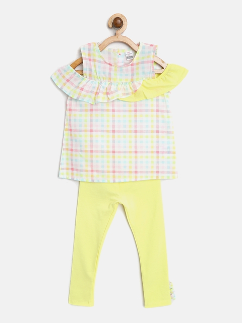 LC Waikiki Girls Yellow & Pink Checked Top with Solid Leggings