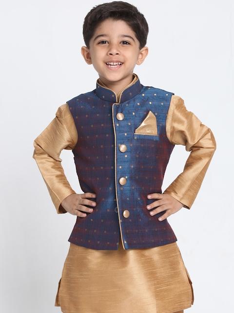 VASTRAMAY Boys Blue Self Design Lightweight Tailored Jacket