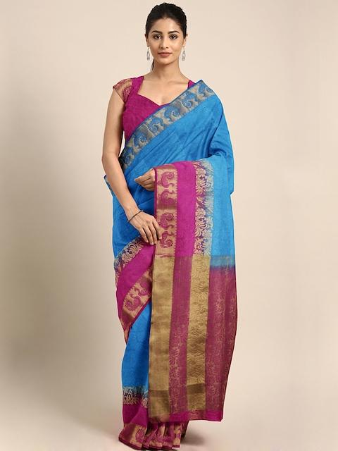 Pavechas Blue & Pink Organza Woven Design Tussar Saree