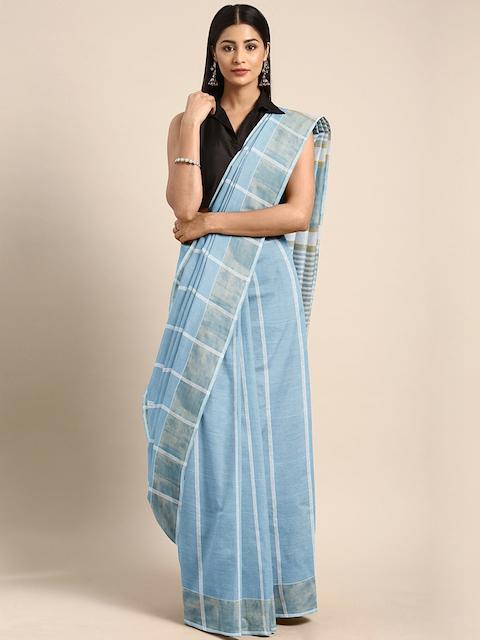 Pavechas Blue & White Pure Cotton Striped Venkatgiri Saree