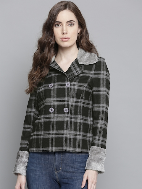 Chemistry Edition Women Black & Grey Checked Tailored Jacket