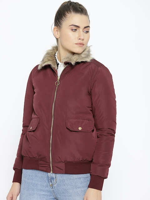 Chemistry Edition Women Maroon Solid Bomber Jacket