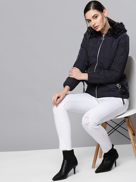 Chemistry Edition Women Navy Blue Solid Hooded Puffer Jacket
