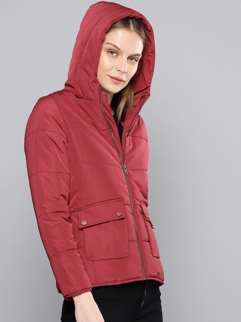 Chemistry Edition Women Maroon Solid Puffer Jacket