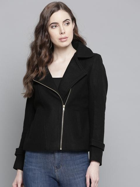Chemistry Edition Women Black Solid Asymmetric Closure Jacket