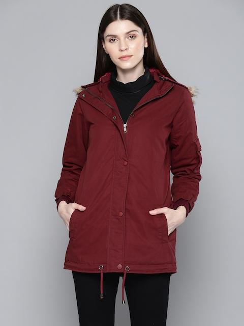 Chemistry Edition Women Maroon Solid Longline Parka Jacket