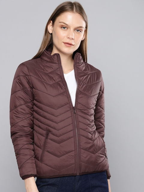 Chemistry Edition Women Burgundy Solid Lightweight Puffer Jacket