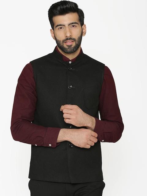 Wintage Men Black Solid Nehru Jacket