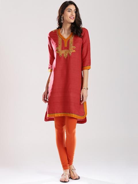 Fabindia Red Embroidered Silk Kurta