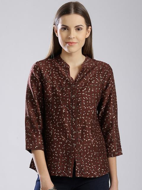 Fabindia Rust Brown Printed Casual Shirt