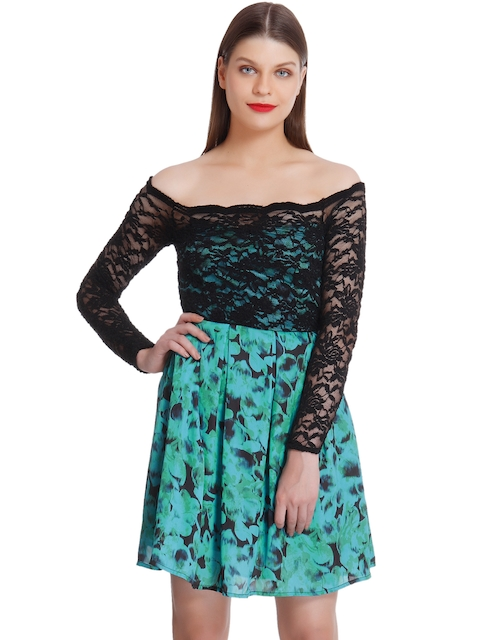 Vero Moda Marquee by Kangana Ranaut Green & Black Lace Printed Fit & Flare Dress