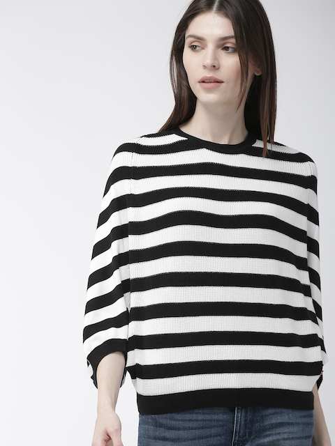 Levis Women Black & White Striped Round Neck T-shirt