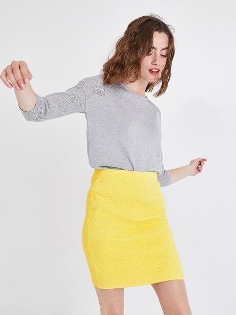 promod Women Yellow Self-Design Pencil Mini Skirt