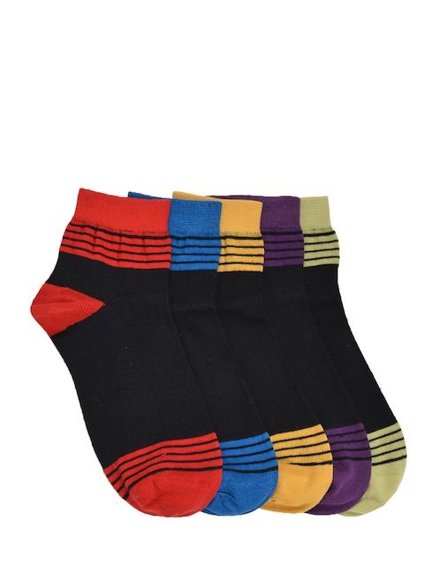 MARC Women Pack of 5 Black Patterned Ankle-Length Socks