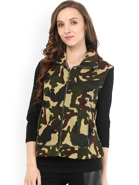 The Vanca Olive Green & Brown Camouflage Print Sleeveless Jacket