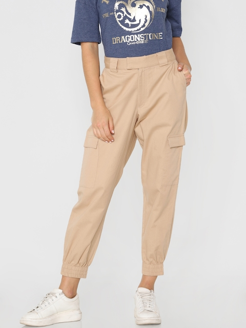 ONLY Women Beige Loose Fit Solid Cargos