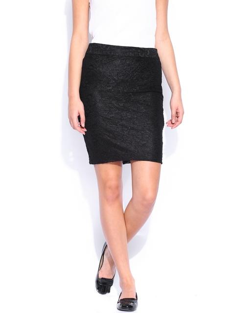 Park Avenue Women Black Lace Pencil Skirt