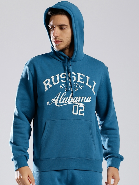 Russell Athletic Blue Hooded Printed Sweatshirt