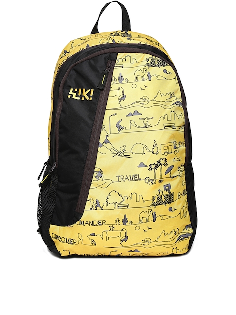 Wiki by Wildcraft Unisex Black & Yellow Printed Backpack
