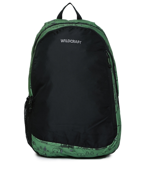 Wildcraft Unisex Green & Black Colourblocked Printed Vault LD Backpack  available at myntra for Rs.1020