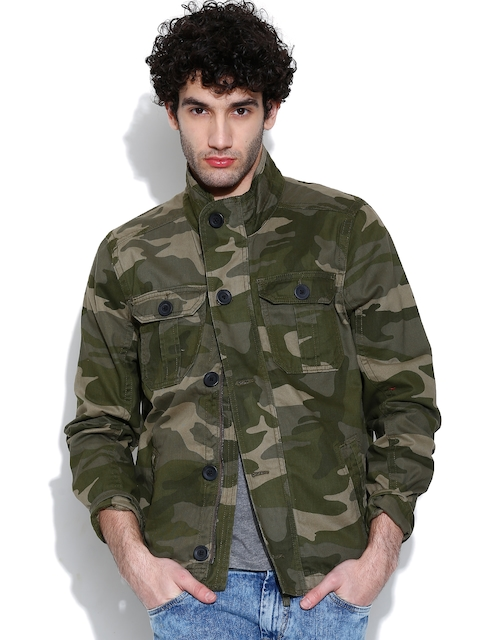 United Colors of Benetton Olive Green Camouflage Print Jacket