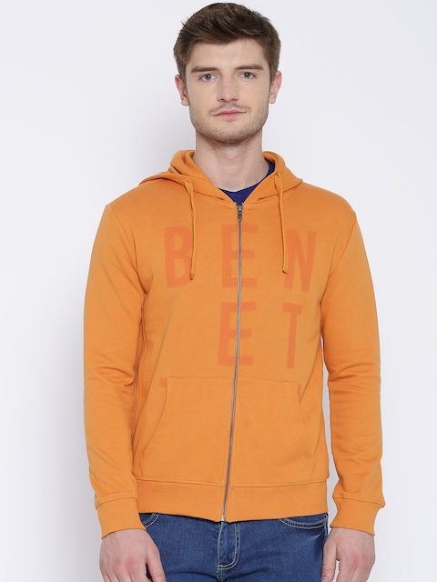 United Colors of Benetton Orange Printed Hooded Sweatshirt