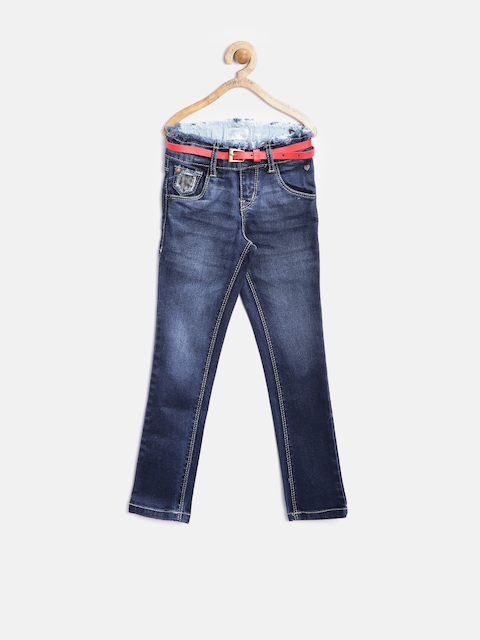 Gini and Jony Girls Navy Washed Slim Stretchable Jeans