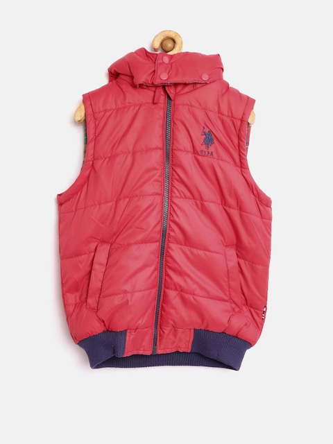U.S. Polo Assn. Kids Boys Blue & Red Checked Reversible Hooded Jacket