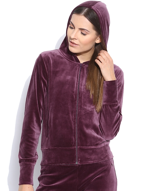 United Colors of Benetton Burgundy Velour Hooded Sweatshirt