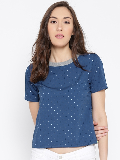 United Colors of Benetton Blue Dot Print Top