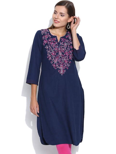 BIBA OUTLET Navy Denim Kurta