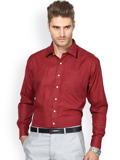 Shaftesbury London Maroon Standard Fit Formal Shirt