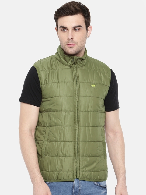 Wildcraft Olive Green Sleeveless Puffer Azi Husky Packable Jacket