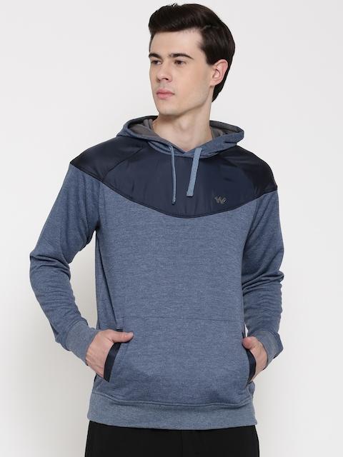 Wildcraft Blue Melange Hooded Sweatshirt