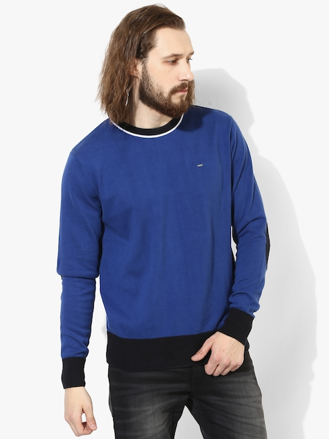 Blue Solid Round Neck Sweater